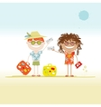 Happy tourists with tickets and suitcases for your vector image
