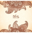Indian mehndi henna tattoo style card vector image vector image
