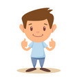 little boy giving you thumbs up vector image vector image
