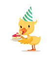little cartoon duckling in a party hat holding vector image vector image