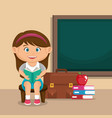 little schoolgirl with education supplies vector image