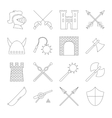 Medieval outline icons set vector image vector image