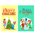 merry christmas holiday children snowman tree card vector image vector image