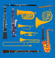 musical wind air tube brass instruments vector image vector image