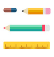Pencil ruler and eraser Worker tools set Flat vector image