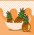 pineapple in bowl harvest fruit tasty dotted vector image