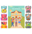 pupils with backpacks in front school building vector image vector image