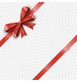 realistic red silk gift bow with diagonally shiny vector image