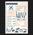 retro frame restaurant lunch menu design layout vector image vector image