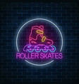 roller skates glowing neon sign in circle frame vector image vector image