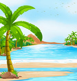 Scene with blue ocean and coconut trees vector image vector image