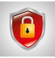 shield protection padlock secure system data vector image