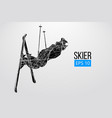 silhouette skier jumping isolated vector image