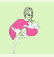 sketch young beautiful woman with cat vector image vector image