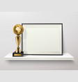 trophy and frame composition vector image vector image