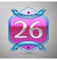Twenty six years anniversary celebration silver vector image vector image