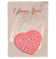 vintage romantic card with heart vector image vector image