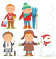 Winter holidays set of cartoon men vector image vector image