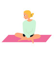 young woman doing yoga girl sitting on mat vector image
