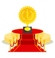 medal on red carpet vector image