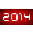 2014 Happy new year card red background vector image