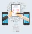business social connection technology conceptual vector image