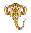 Stylized colorful elephant portrait art on white vector image