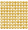 100 initiation icons set gold vector image vector image