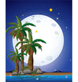 A bright fullmoon and the blue sea vector image vector image