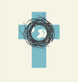 abstract cross with planet earth in nest vector image vector image