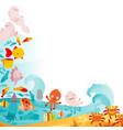 an underwater animals border vector image vector image