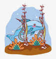 aquatic marine life vector image