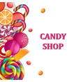 candy shop concept banner realistic style vector image vector image