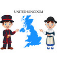 cartoon united kingdom couple wearing traditional vector image