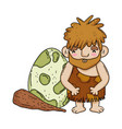 caveman with bludgeon and dinosaur egg vector image