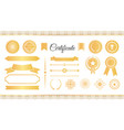 certificate labels awards and ribbons golden signs vector image
