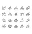 circus tent charcoal draw line icons set vector image