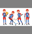 classic ice hockey player set player in vector image