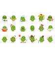 cute cactus cartoon characters set cacti vector image vector image