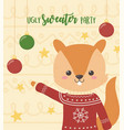 cute squirrel christmas ugly sweater party vector image vector image