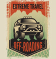 design template poster in retro style with suv vector image vector image