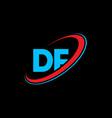 df d f letter logo design initial letter df vector image vector image