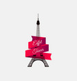 eiffel tower with ribbon the symbol of france a vector image vector image