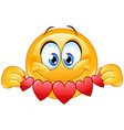 emoticon with heart banner vector image vector image