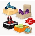 Fashion collection of womans shoes vector image vector image