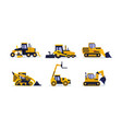 flat set of colorful construction vehicles vector image vector image