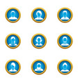 front view icons set flat style vector image