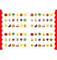 fruit berry vegetable face icon set moustaches vector image vector image