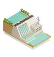 green energy hydropower isometric composition vector image vector image