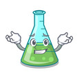 grinning science beaker character cartoon vector image vector image